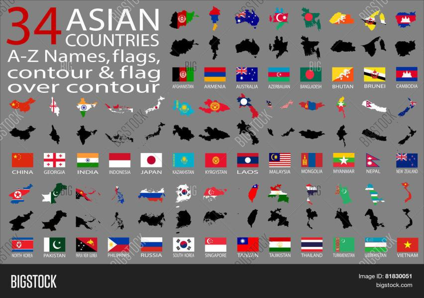34 Asian Countries Vector   Photo  Free Trial    Bigstock 34 Asian Countries   A Z Names  flags  contour and map over contour