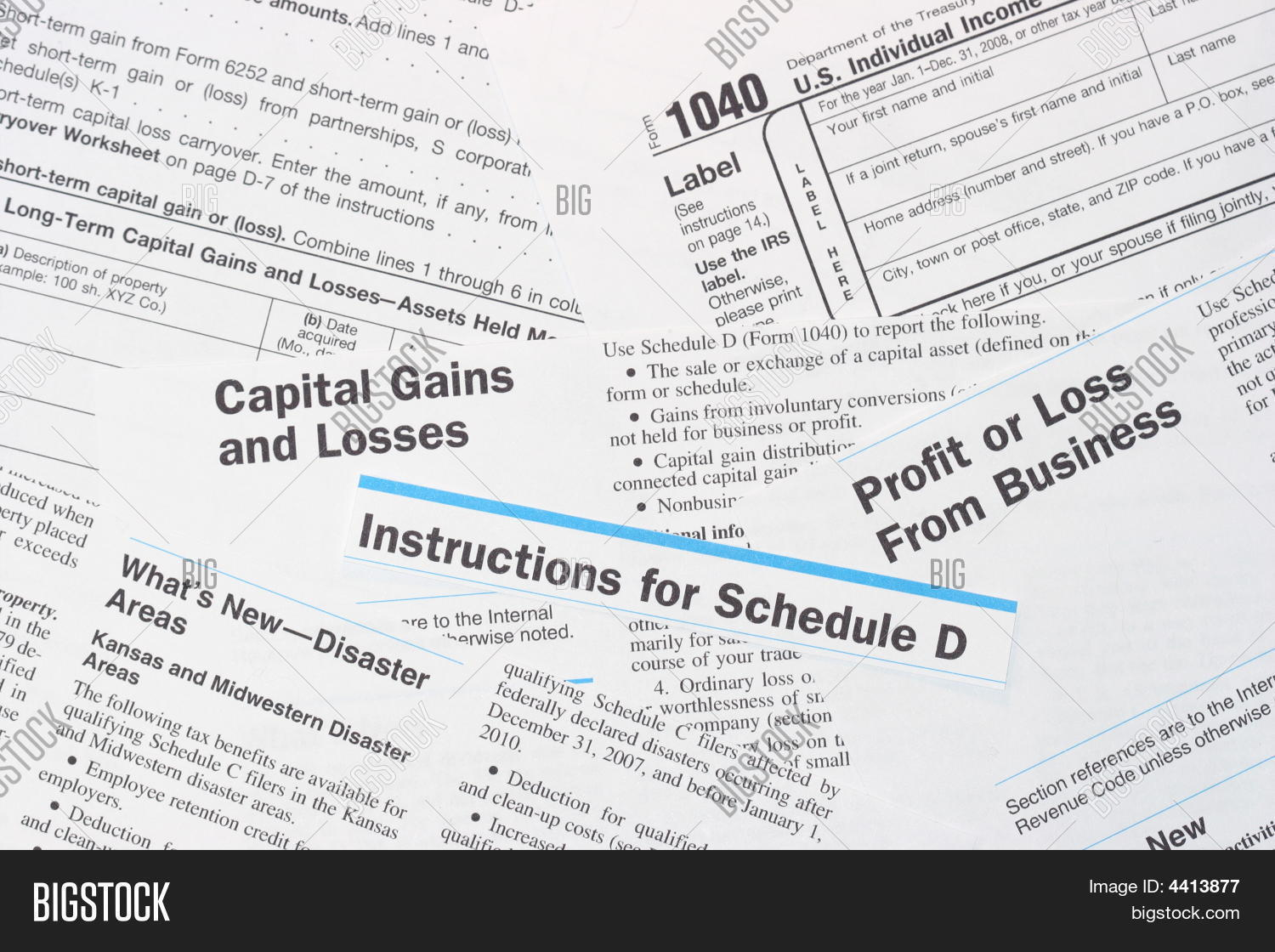 Irs Federal Income Tax Forms And Schedule D Stock