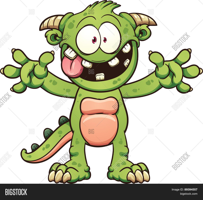 Green Cartoon Monster Vector Clip Vector Amp Photo
