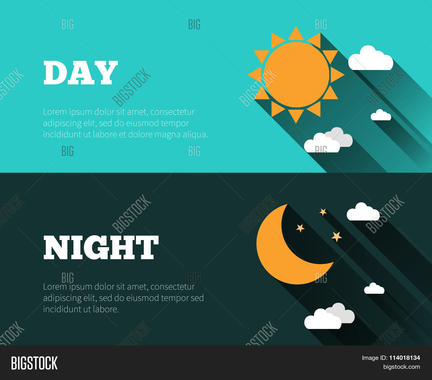 Sun Moon Stars Clouds Icons Day Vector Amp Photo