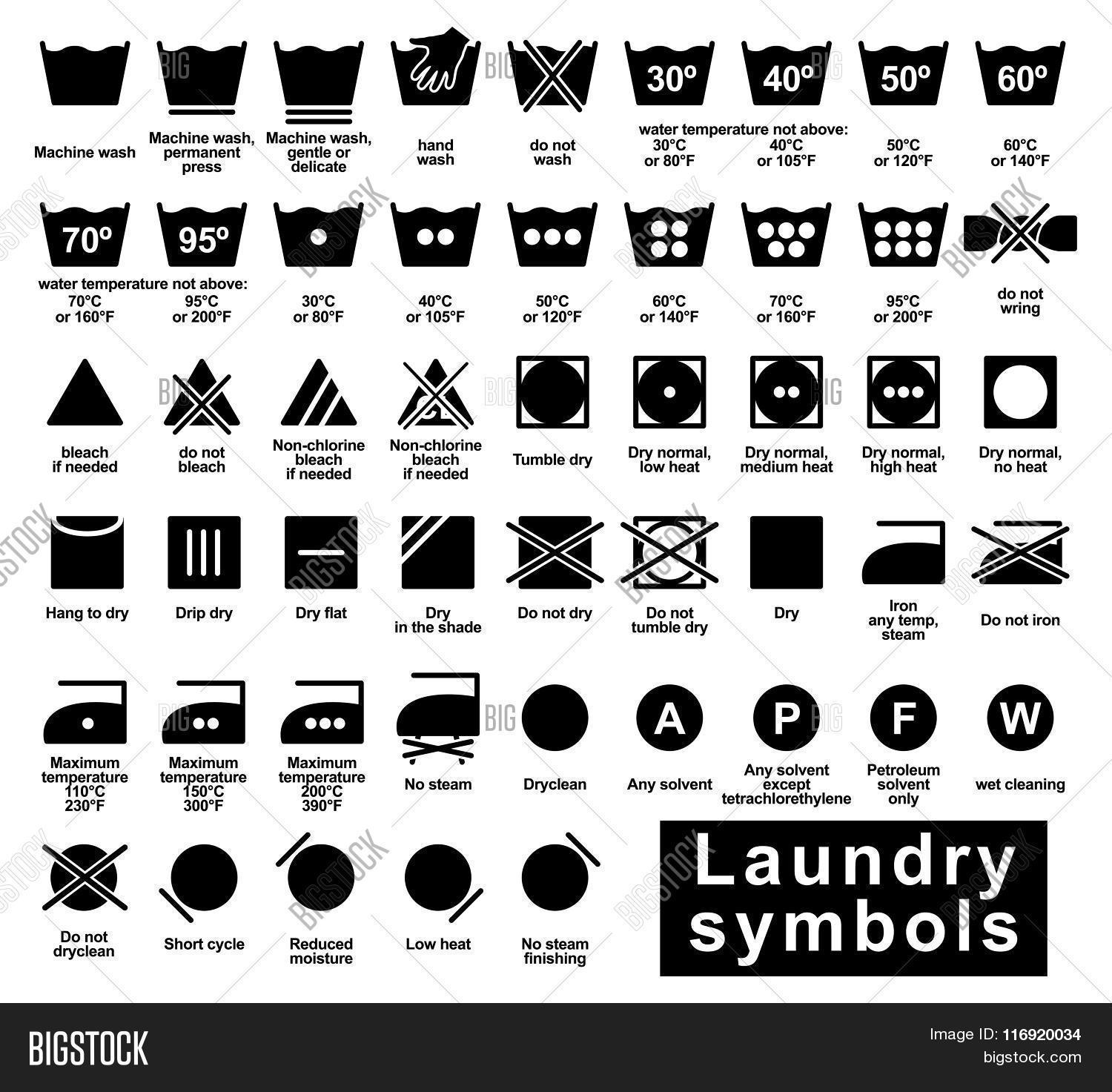 Laundry Symbols Set Vector Amp Photo