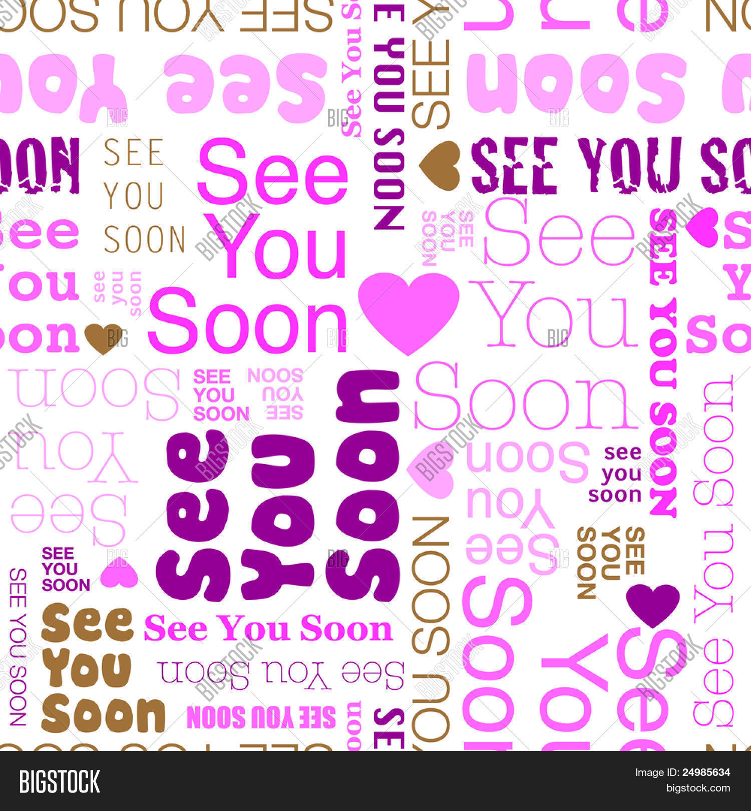 See You Soon Seamless Background Pattern In Vector Stock