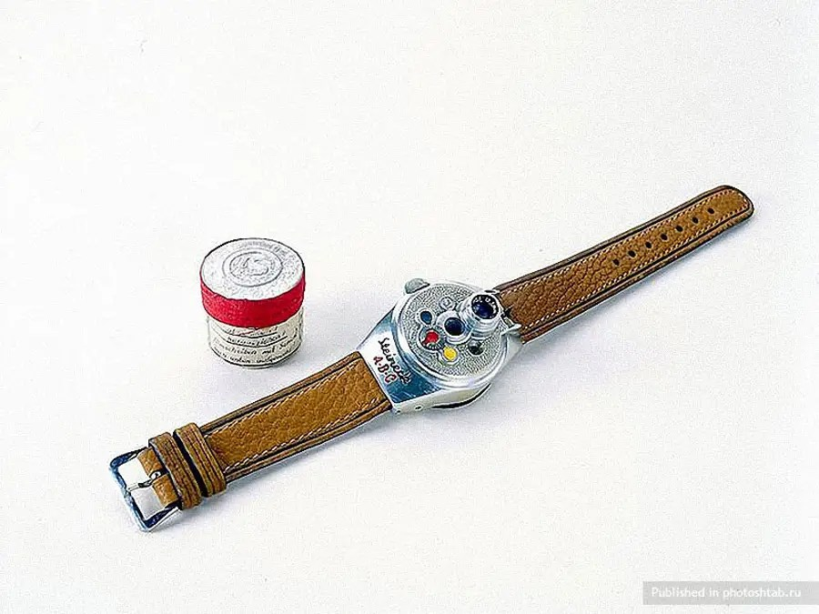 A camera disguised as a watch, from the German Secret Service.
