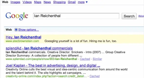 names on adwords because creative directors like to google themselves