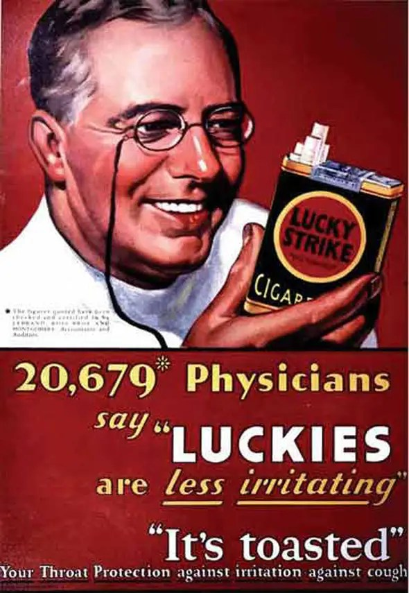 """In the 1920s, tobacco companies used physicians to vouch for their products. In 1929, Philip Morris was said its cigarette was """"recognized by eminent medical authorities for its advantages to the nose and throat."""""""