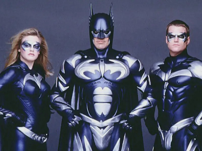 "1997: ""Batman & Robin"" –  George Clooney's appearance as Batman brings two more batsuits, a bluer one with the nipples still in place and an Arctic Suit (below) with silver patches."