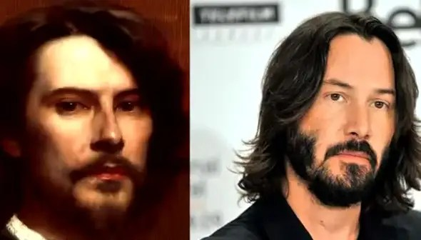 """Matrix"" star Keanu Reeves resembles Louis-Maurice Boutet, a French painter and illustrator of children's books."