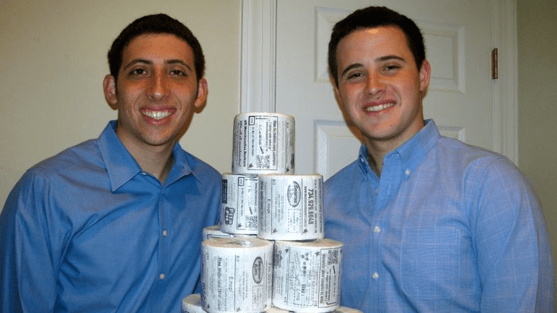 """Bryan and Jordan didn't see this as a fly-by-night business. """"It took us about a year to file the legal forms to do the market research,"""" Bryan said. """"We are at the intersection of a $100 billion ad industry and $4 million toilet paper industry."""""""