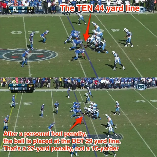 What should have been a 15-yard penalty against the Lions was marked off for 27 yards. It set up a game-winning Titans field goal