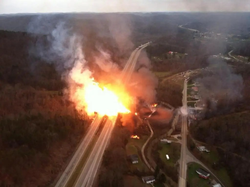 Natural gas line explosion WV aerial