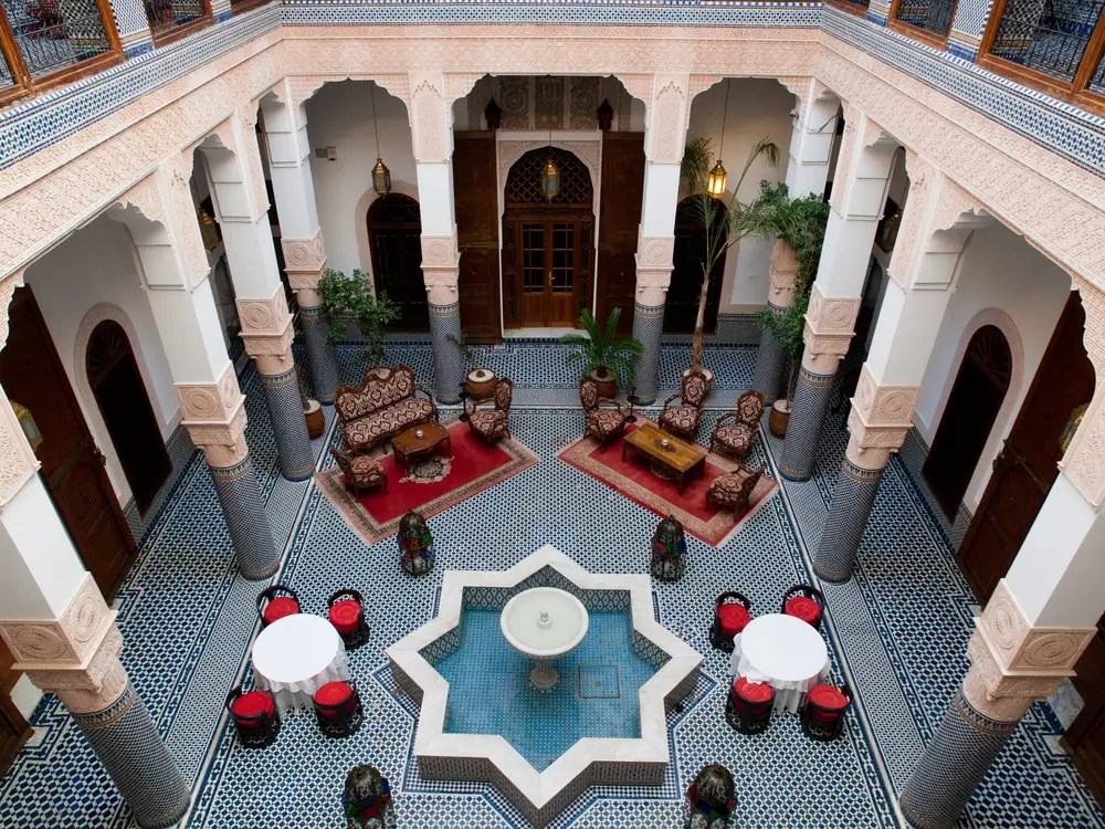 Sleep in a traditional Moroccan riad in Marrakesh.