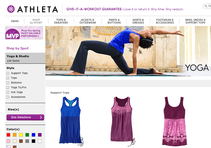 Athleta has frequent clearance sales