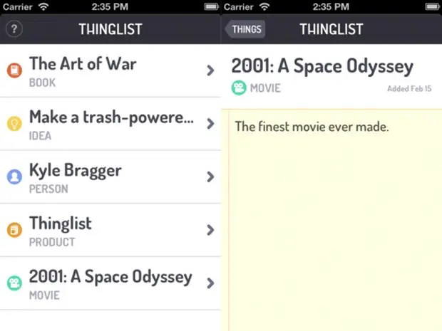 Thinglist is a simple place to remember things. Don't think of Thinglist as a to-do list instead its a place to organize books you want to read, ideas to remember, people, products and more.
