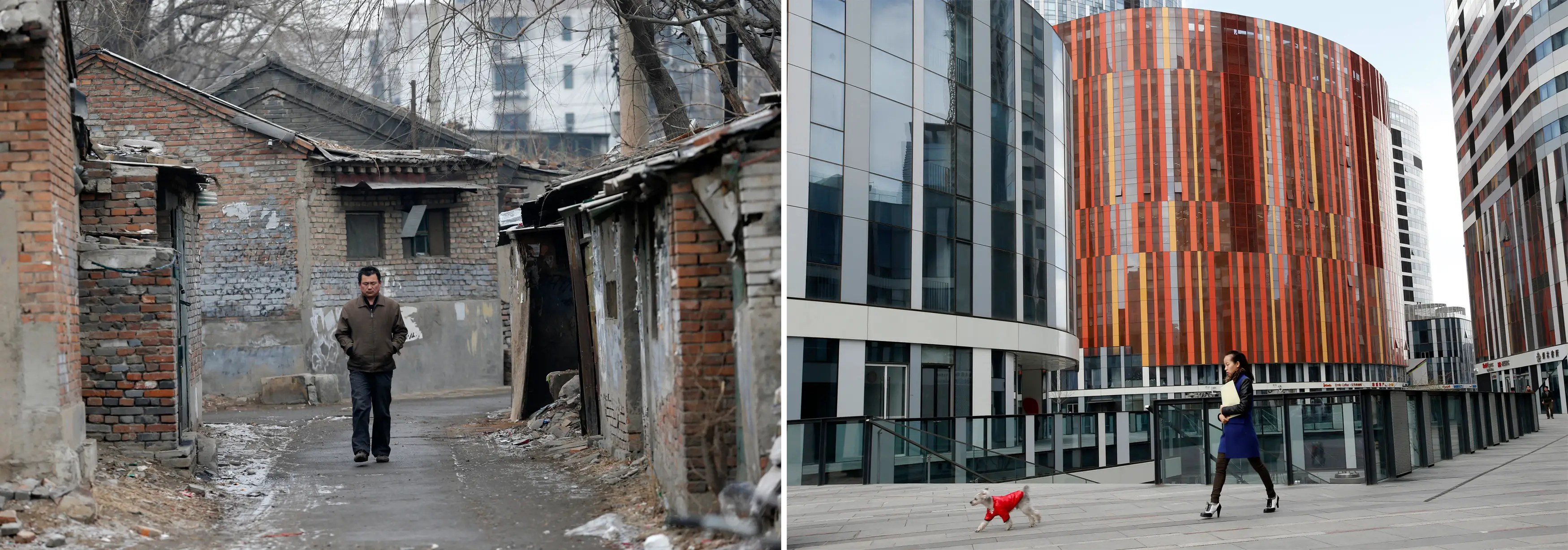 (L) A man walks in a alley at a half-demolished, old residential site and (R) a woman walks with her pet dog at a wealthy residential and commercial complex.