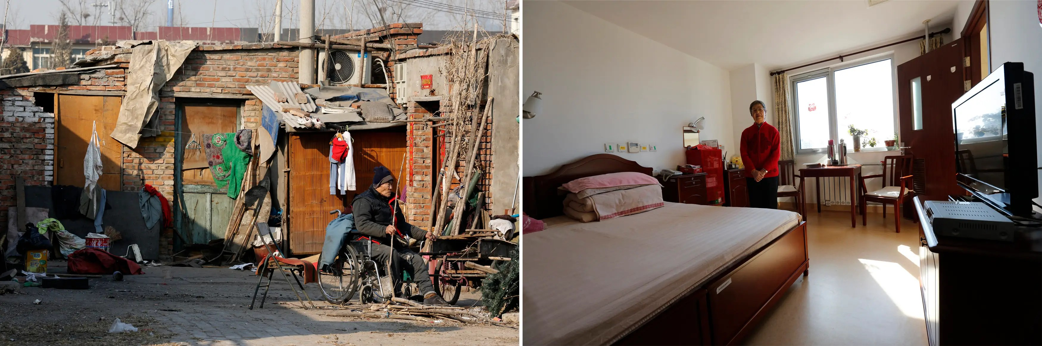 (L) A man sits in a wheelchair in front of his house in a residential area for migrant workers in Beijing and (R) a resident of the Beijing First Social Welfare Institution affiliated nursing home poses in her bedroom in the nursing home.
