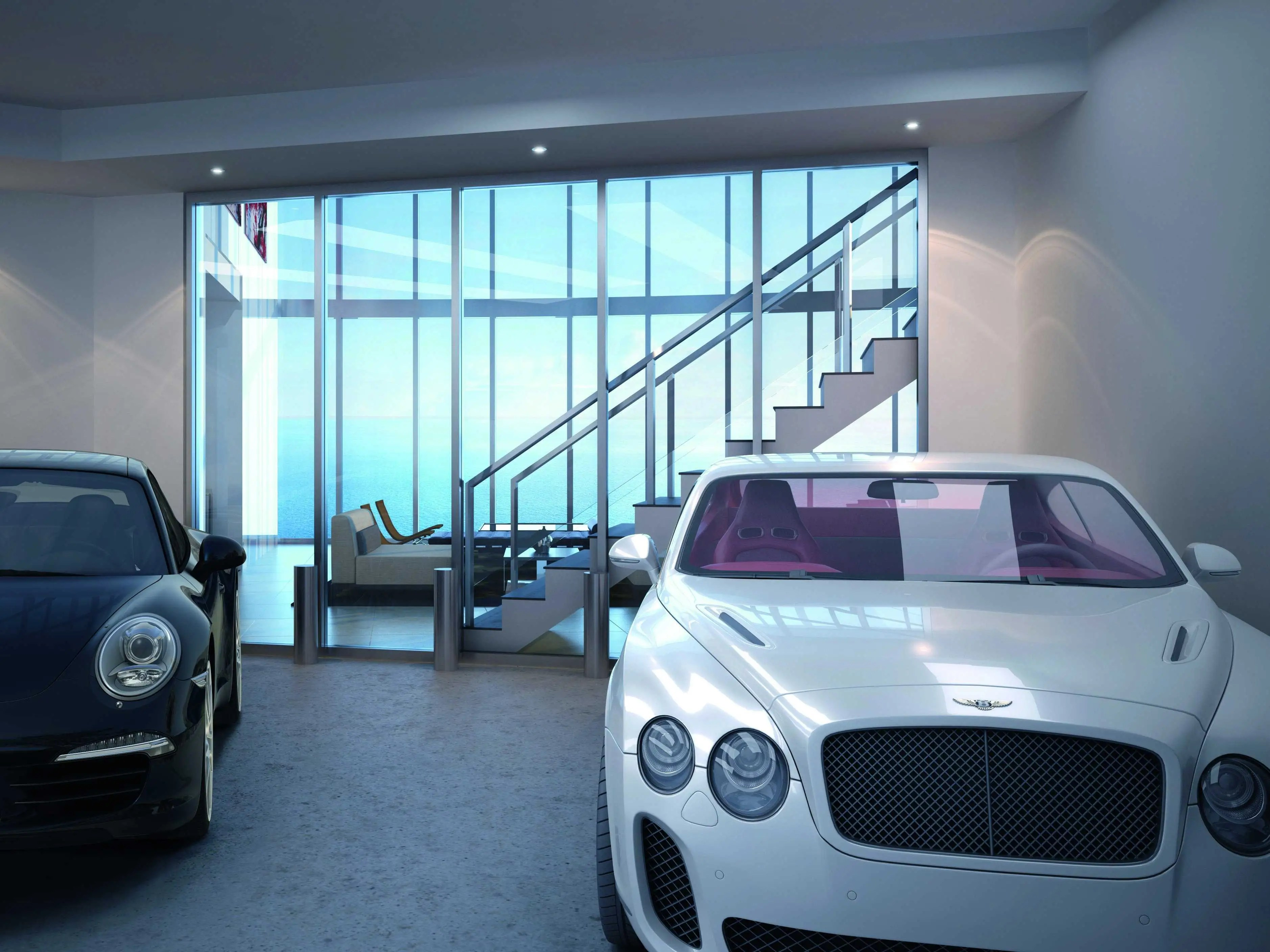"""Cheaper units have two-car garages, while higher-end ones have four. All residents can make use of a """"Car Concierge,"""" who will assist with washing, tire rotations, and regular maintenance."""