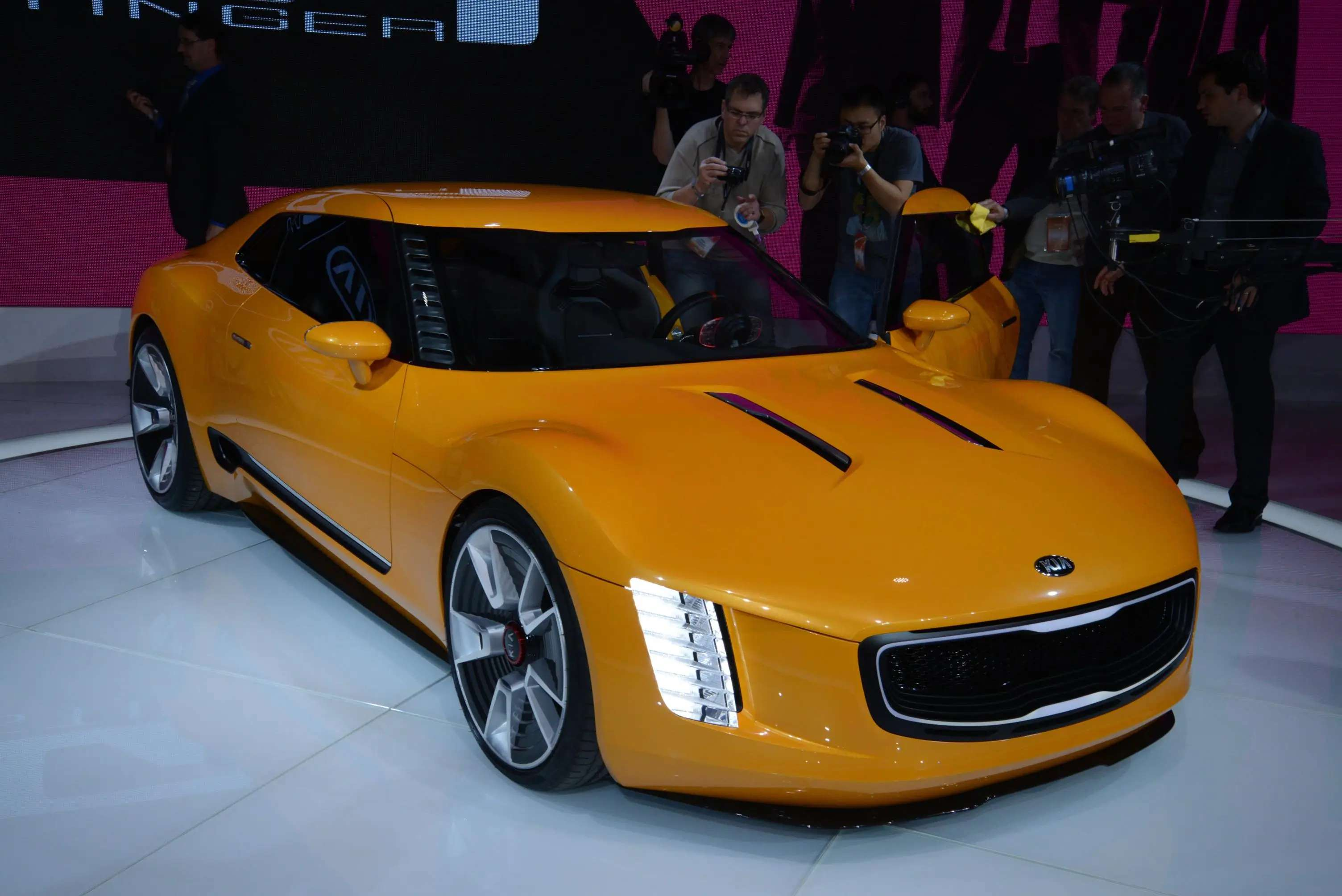 Kia's GT4 Stinger real-wheel drive concept is a far cry from the low-end models the brand is best known for. It's turbocharged engine produces 315 horsepower, paired with a six-speed manual transmission. And it's got the coolest dashboard we've ever seen.