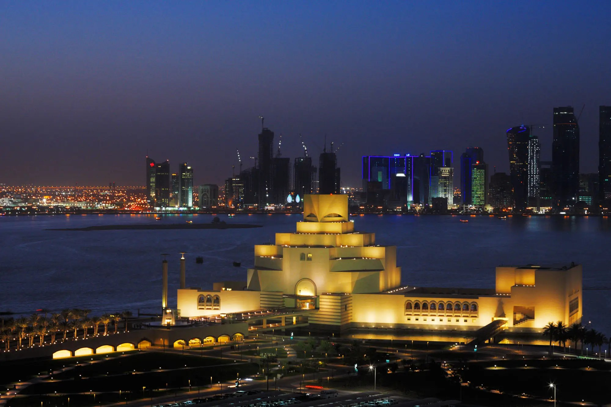 NOW: Today, Doha is internationally known for its latest museum, the Qatar Museum of Islamic Art. Set against the skyline and lit up at night, the museum houses the city's collection of manuscripts, textiles, and ceramics.