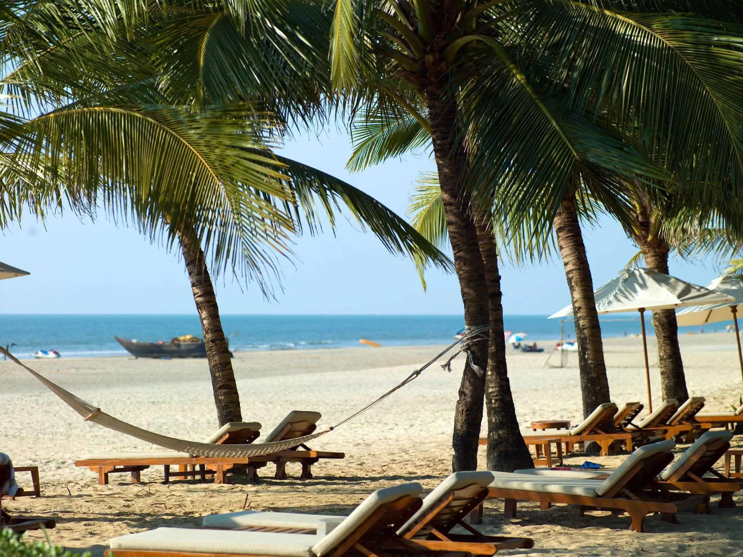 Relax on one of the gorgeous beaches of Goa, India.