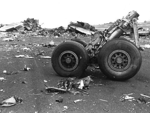 A photo from the wreckage following the crash.