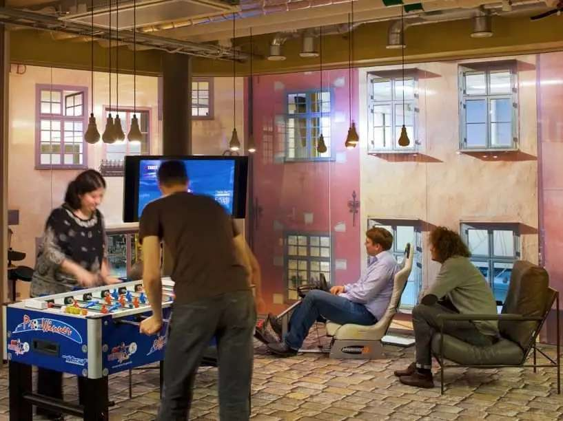 Google has free food, a bowling alley, and bocce courts.