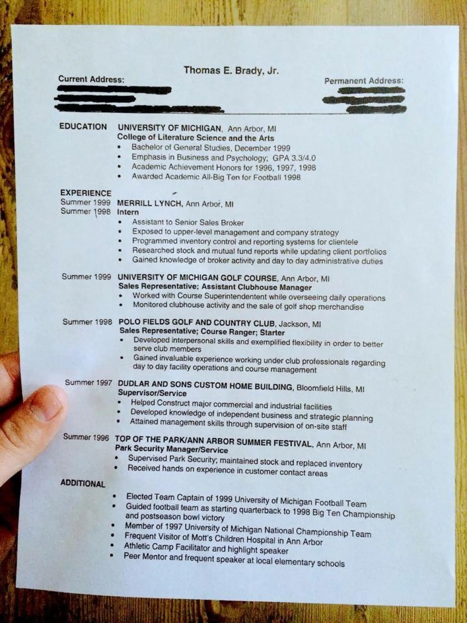 here s tom brady s résumé from when he didn t think he d make it in