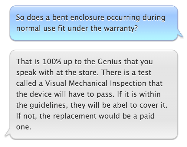 Conversation with Apple support employee about bent iPhone
