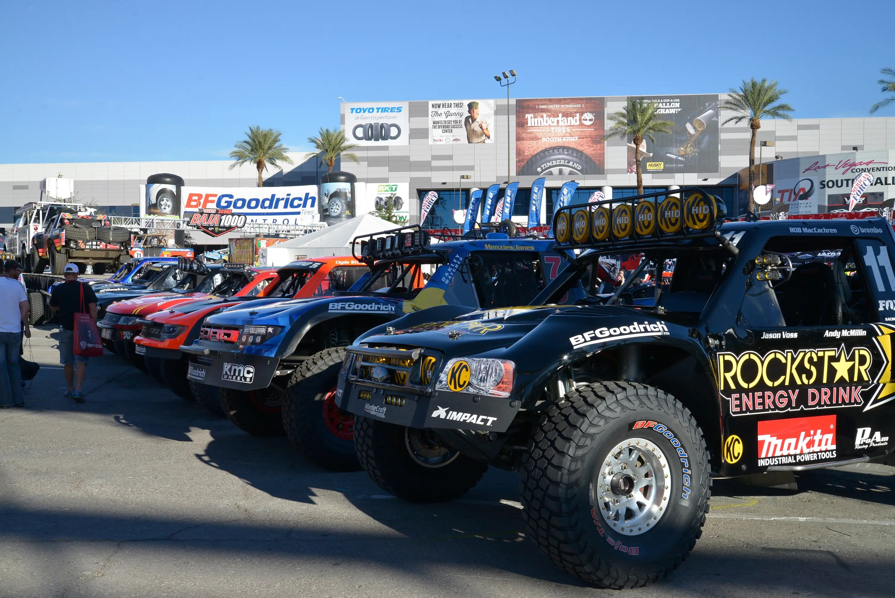 ... as are these trophy trucks that will compete in the Baja 1000 race in Mexico.