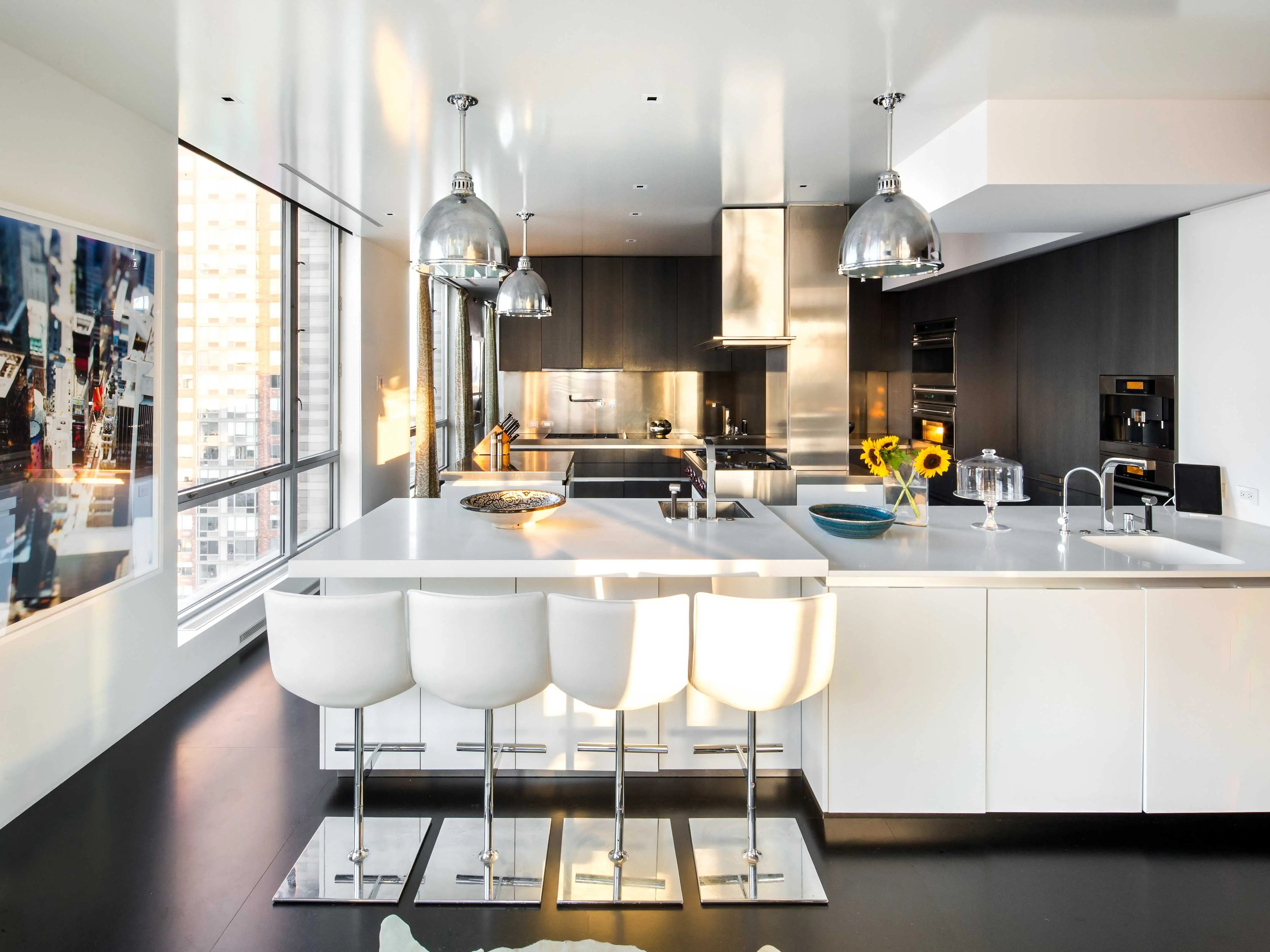 The immaculate main kitchen was designed by Boffi. There is a second kitchen located on the lower floor.