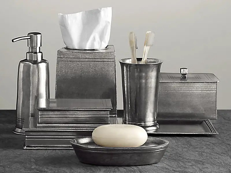 A nice set of countertop accessories is a non-negotiable must-have. This pewter set is both rustic and masculine, without sacrificing function or quality.