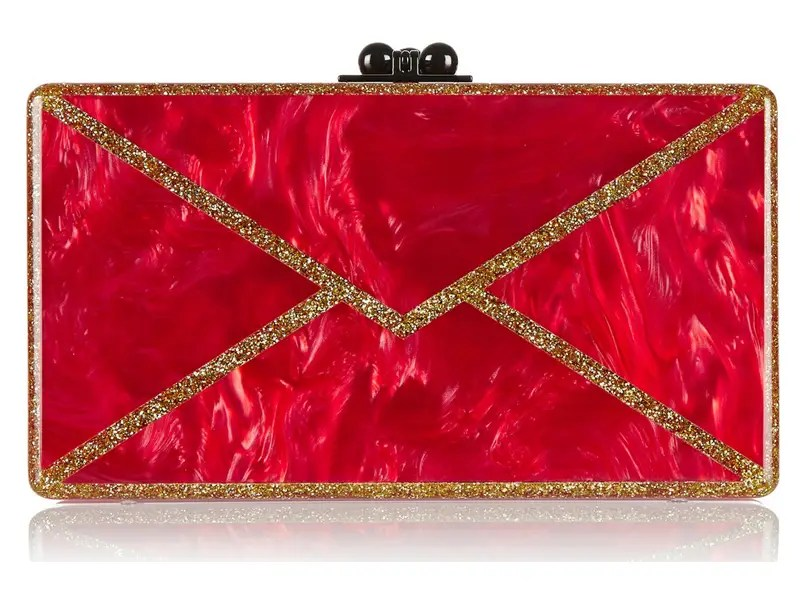 Edie Parker Jean Envelope Glittered Acrylic Box Clutch