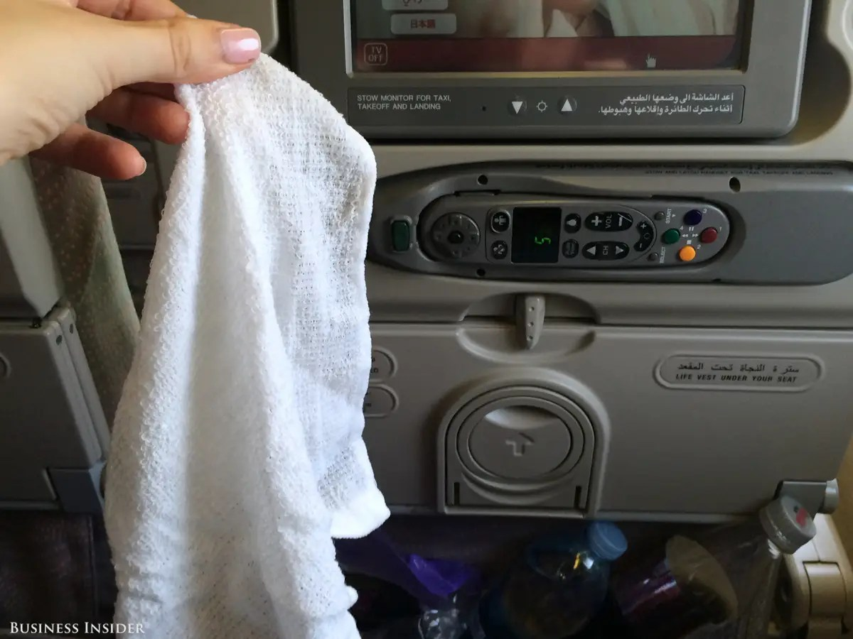 Before we took off, a flight attendant came around with hot towels. In economy class!