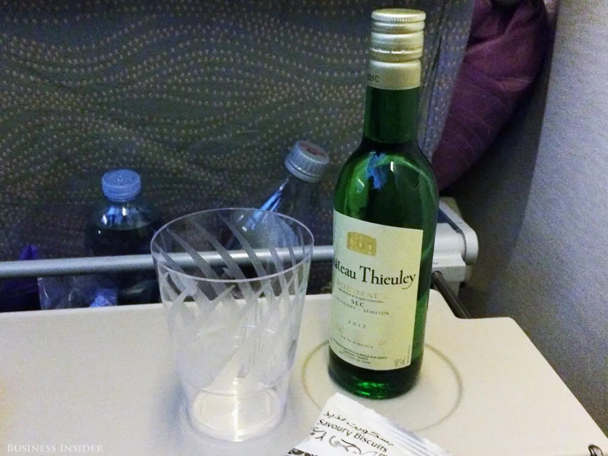But I was awoken soon after when the drink cart rolled up. Unlike on most domestic airlines (even those that fly internationally), the booze was free. The white wine wasn't half bad, and the flight attendant passed me a second bottle before I even had to ask for one. My seat neighbor collected mini bottles of Johnnie Walker Red Label as if it were going out of production.