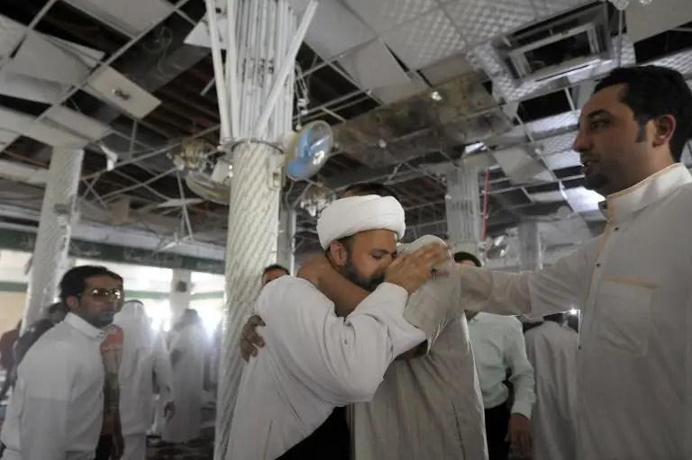 A Saudi man reacts following a blast inside a mosque, in the mainly Shiite Saudi Gulf coastal town of Qatif, 400km east of Riyadh, on May 22, 2015