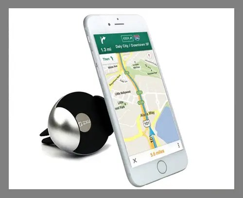 A clip-on car phone mount