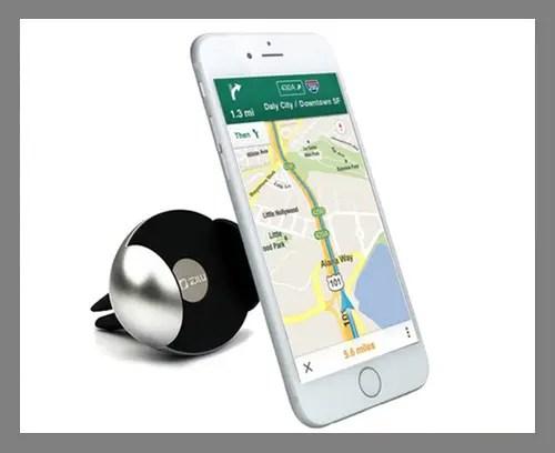 A clip-on car phone mount