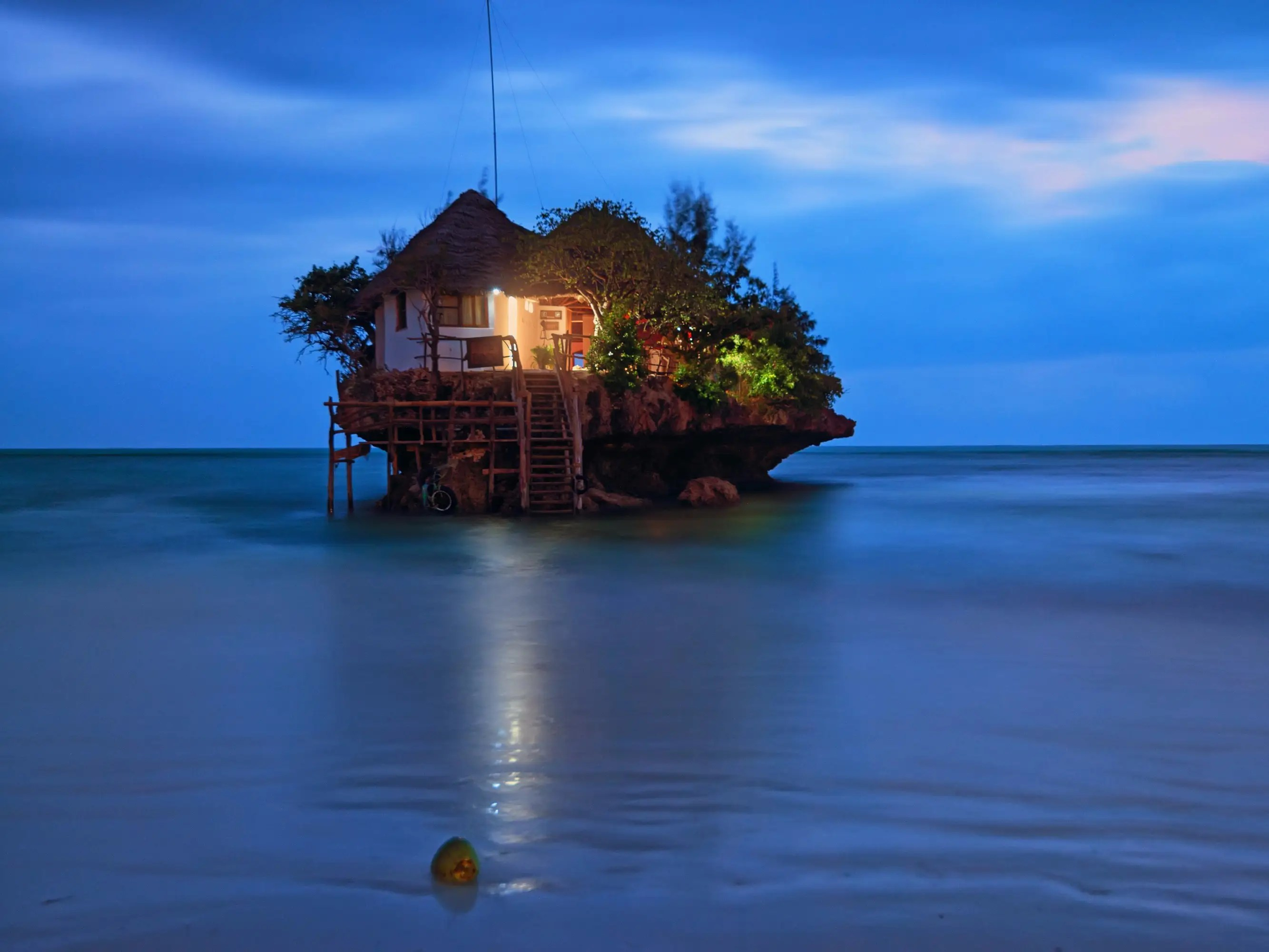 As the name implies, the Rock Restaurant and bar is perched on a rock — one that can be found in the middle of the Indian Ocean. Once a fisherman's post in Zanzibar, you can now get there using its dedicated boat service, or wait for low tide and wade over.