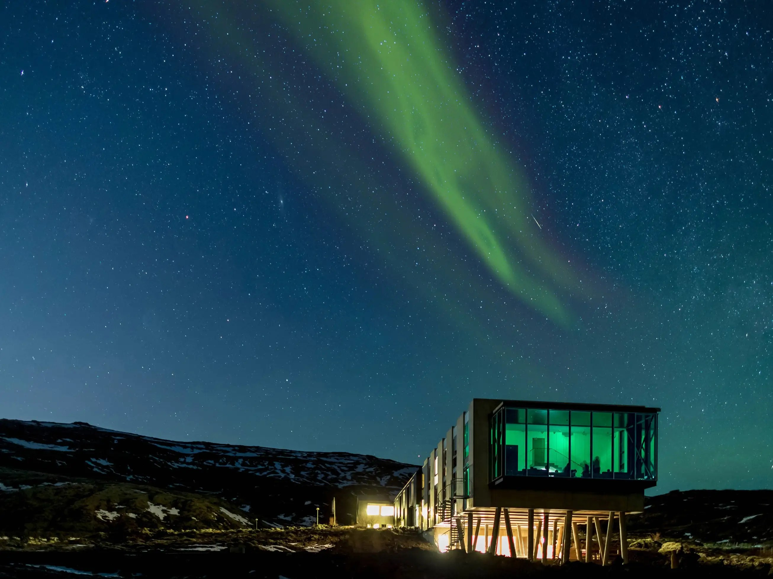 Inside Iceland's ION Luxury Adventure Hotel you'll find the Northern Lights Bar, a bar designed explicitly for optimal Northern Lights viewing. An hour from Reykjavík, amid mountains and lava fields, sits this glass cage of sorts, which juts out from the end of the hotel and occasionally has astronomers on hand to drop their aurora borealis knowledge.