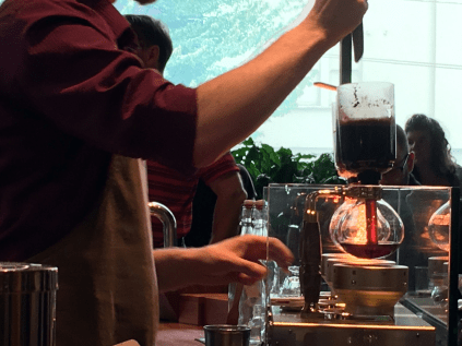 Siphoning uses vacuum filtration to create a cup of coffee with a slightly cleaner taste than other brewing methods produce.