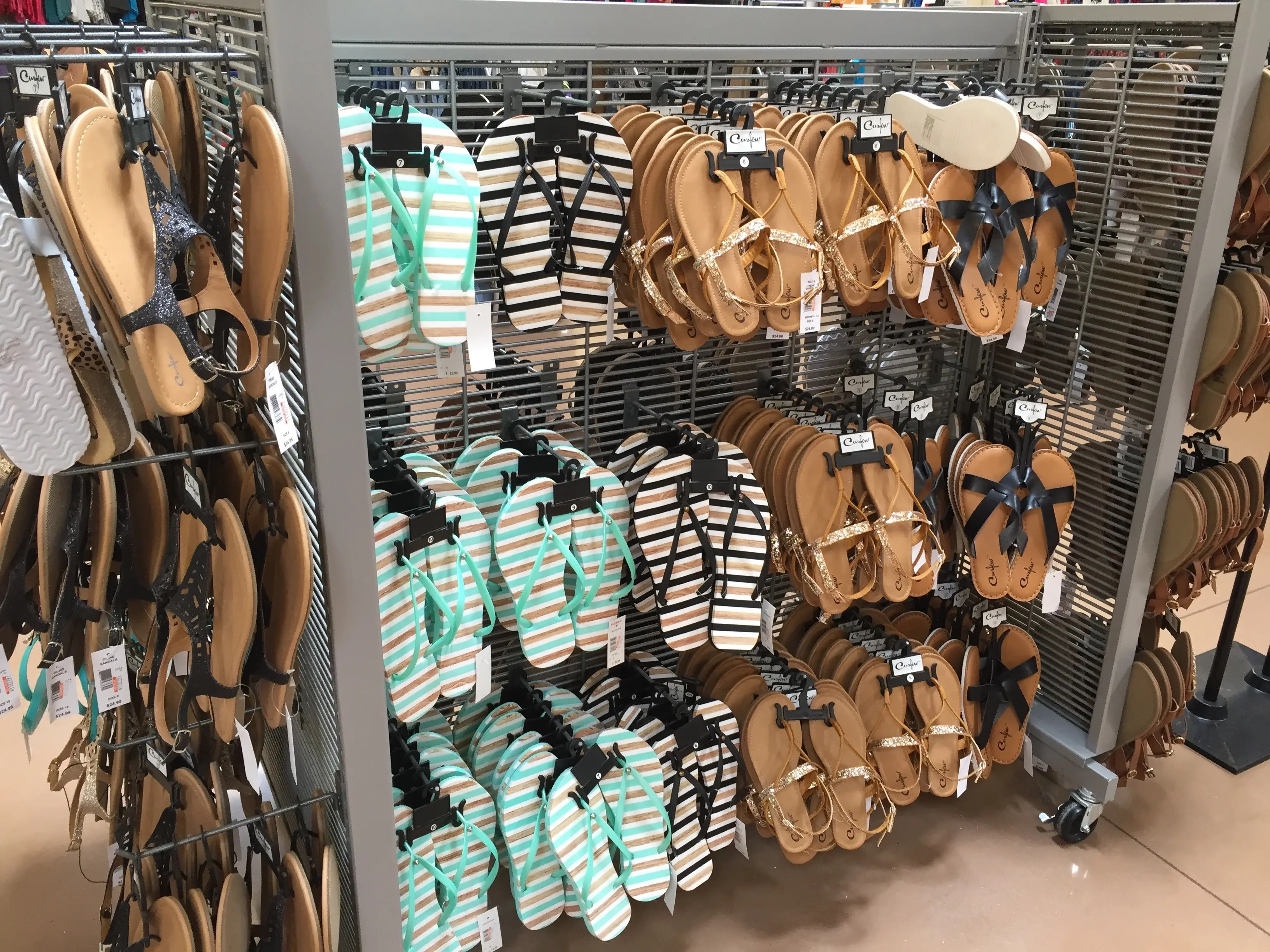 ... and a large selection of sneakers, heeled shoes, and flip-flops.
