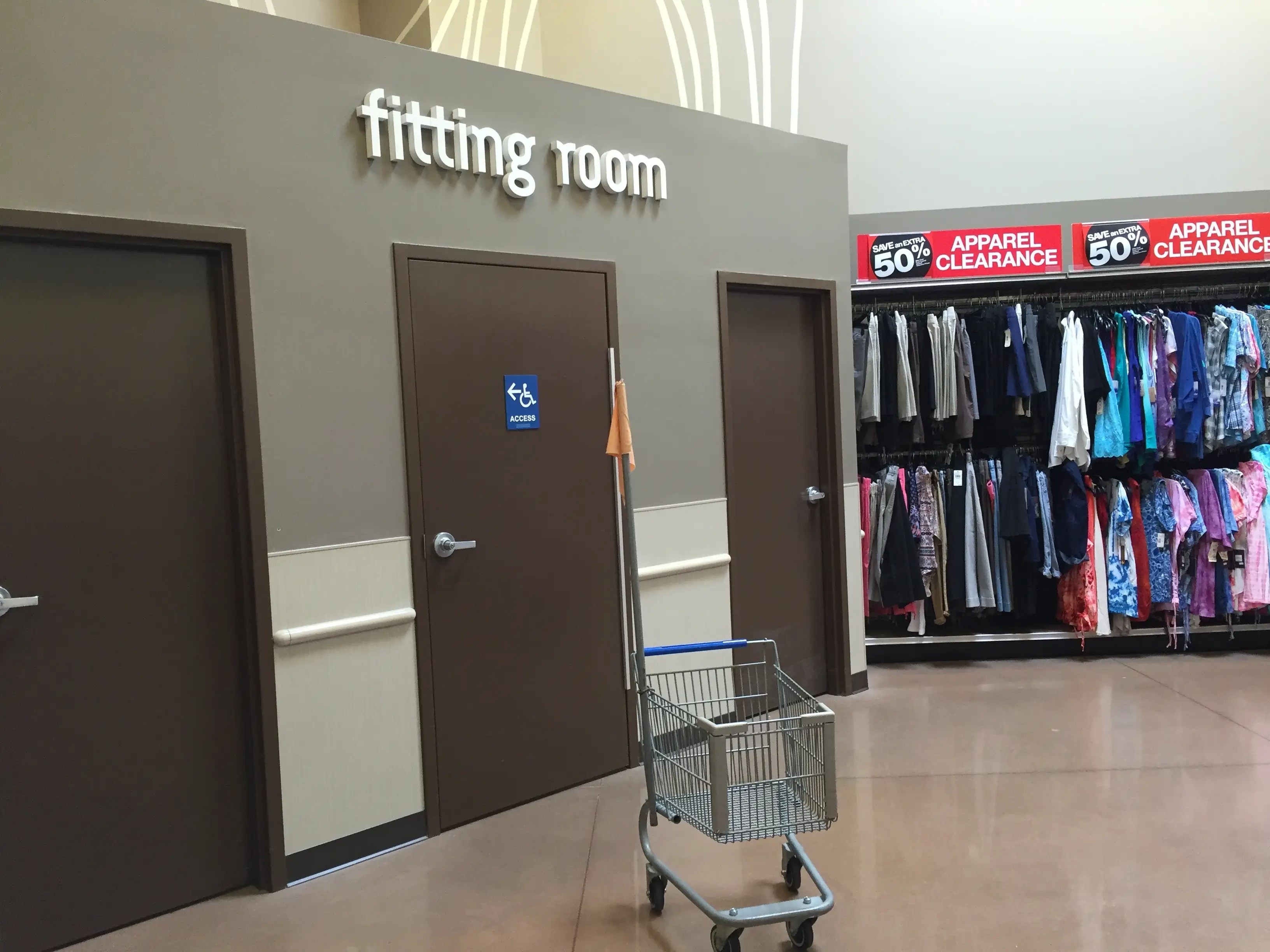 A fitting room is on site for anyone who wants to try the clothes on.