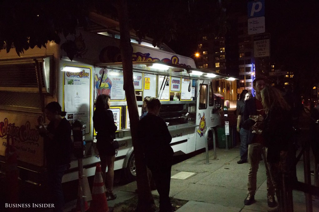 Attendees walked out to find a food truck parked out front. Their event wristbands gave them free food — a somewhat satisfying end to a night of highs and lows.