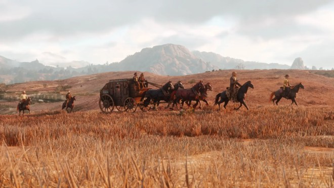 stagecoaches are another feature of red dead redemption 2 from the looks of this one the cargo is of enough importance that four armed men on horseback are riding along as protection perhaps you and your gang can take it down - جديد لعبة Red Dead Redemption II 2018