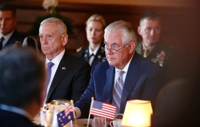 Image result for Tillerson and Mattis, photos