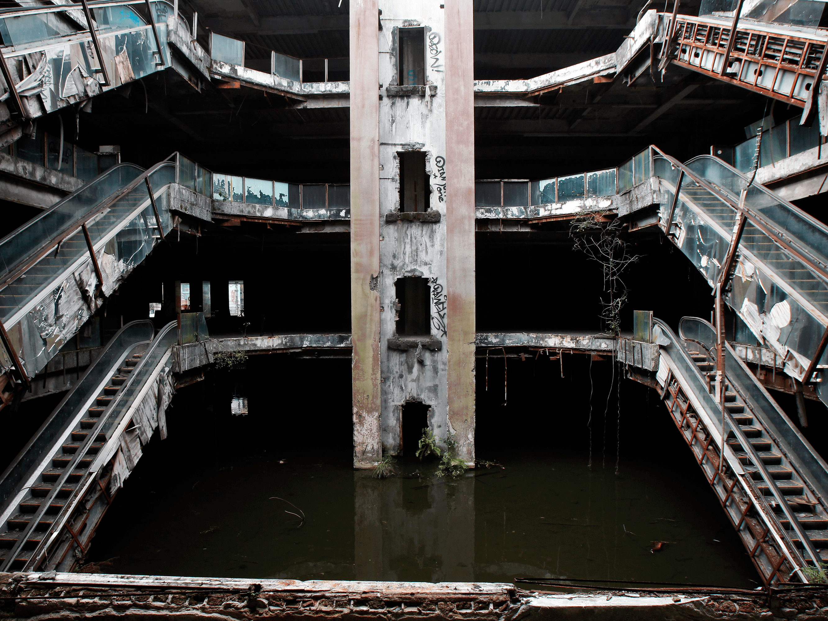 abandoned department store mall