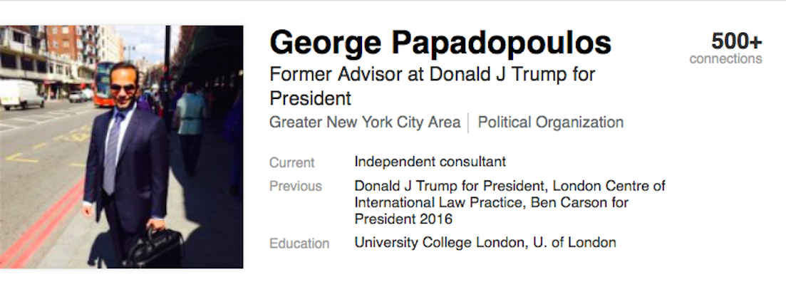 Image result for PHOTOS OF GEORGE PAPADOPOULOS AND SAM CLOVIS