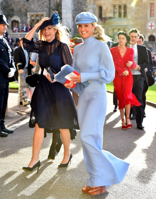 Chelsy Davy (L) arrives ahead of the wedding of Princess Eugenie of York to Jack Brooksbank at Windsor Castle on October 12, 2018 in Windsor, England. (Photo by Matt Crossick - WPA Pool/Getty Images)