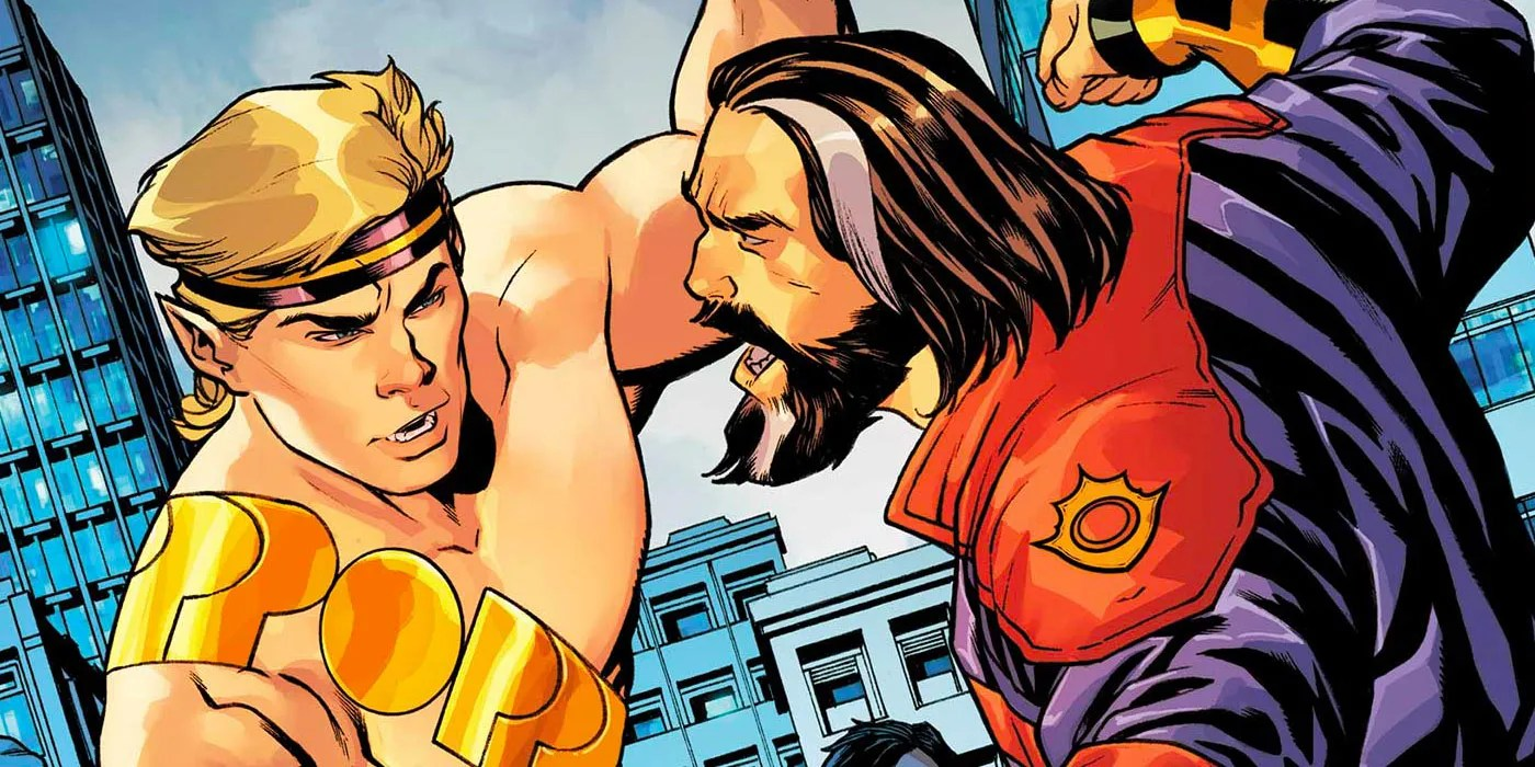 The Prince of Power stands up to Hercules, whose about to punch him.