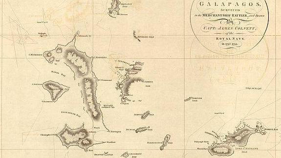 Mapa de las islas Galápagos de 'Chart of the Galapagos' (1798)./