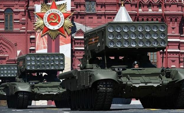 Russian rocket launchers during the Victory Day parade in Moscow a year ago, in a file image.
